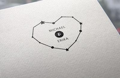sello de boda corazón constelación
