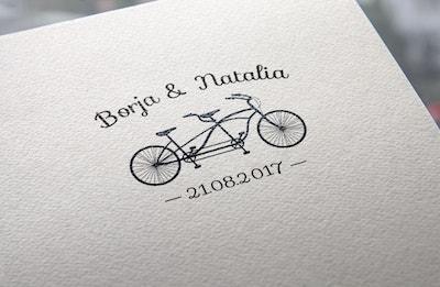 sellos de boda con bicicleta tandem